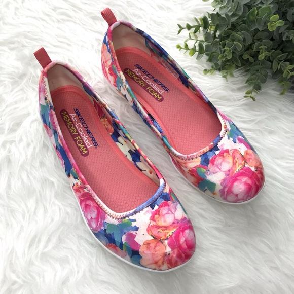 Skechers Shoes - Skechers Floral Memory Foam Slip On Sneakers
